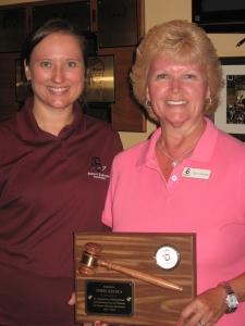 ABA President Hillary Dow presents an award of appreciation to immediate past ABA President Terri Kelsea.